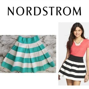 NWOT Turquoise Striped Flare Pleated Skirt